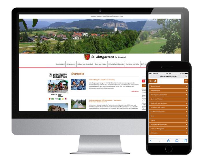 Neue responsive Website Gemeinde St. Margareten im Rosental - by WEBWERK