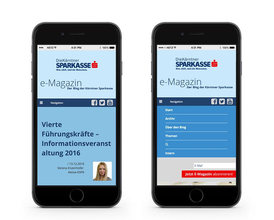 eMagazin der Kärntner Sparkasse mobile Referenz