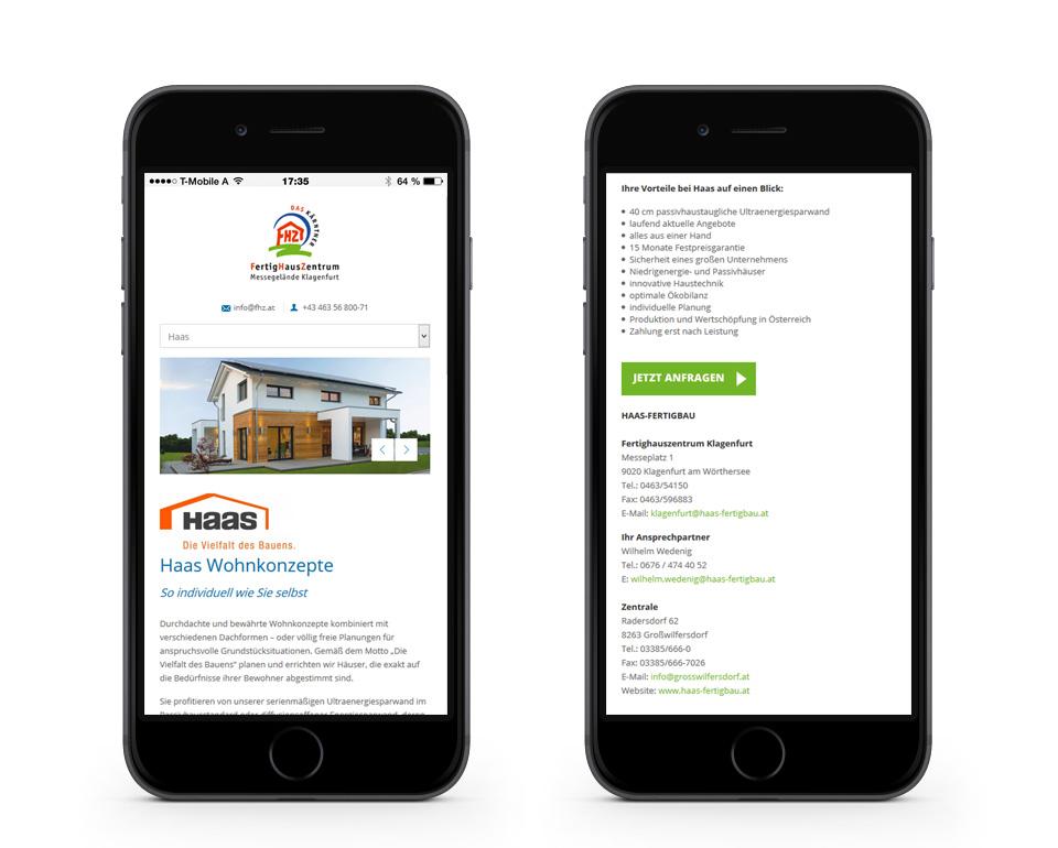 FHZ - Haas Wohnkonzepte - Smartphoneansicht