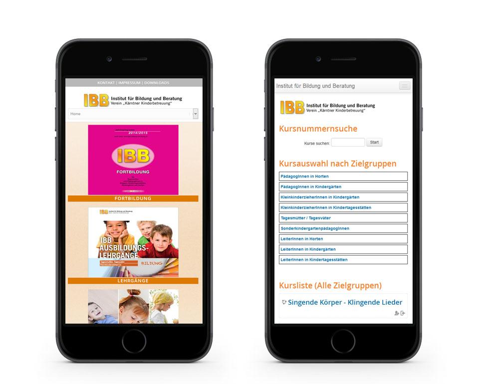 IBB - Institut für Bildung und Beratung - Smartphoneansicht