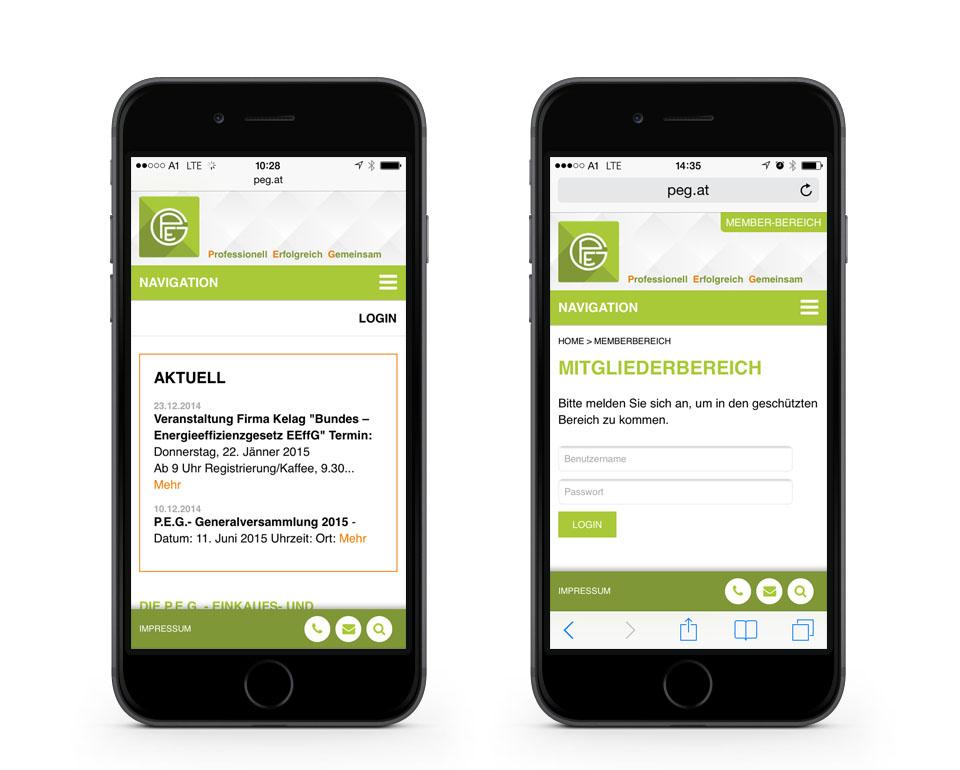 Wiener Einkaufsgenossenschaft P.E.G. - Smartphoneansicht