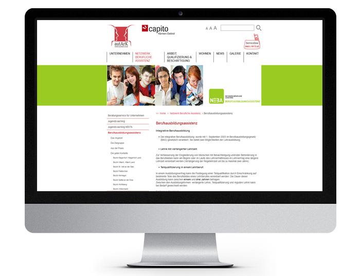 autArk Berufsausbildungsassistenz - Desktopansicht