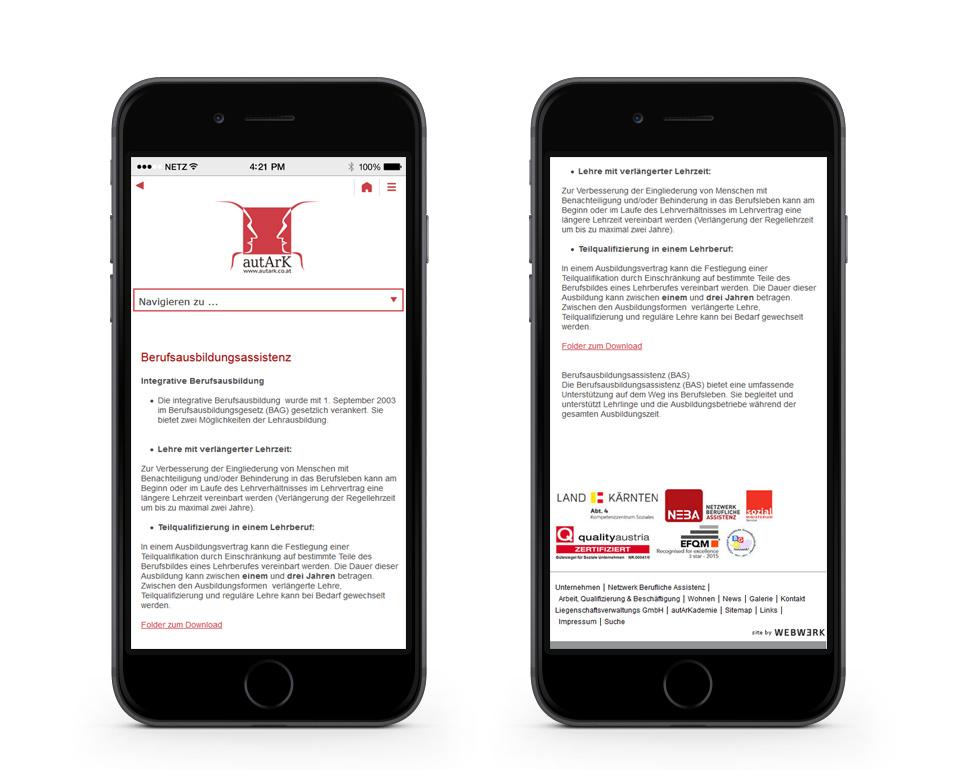 autArk - Berufsausbildungsassistenz - Smartphoneansicht