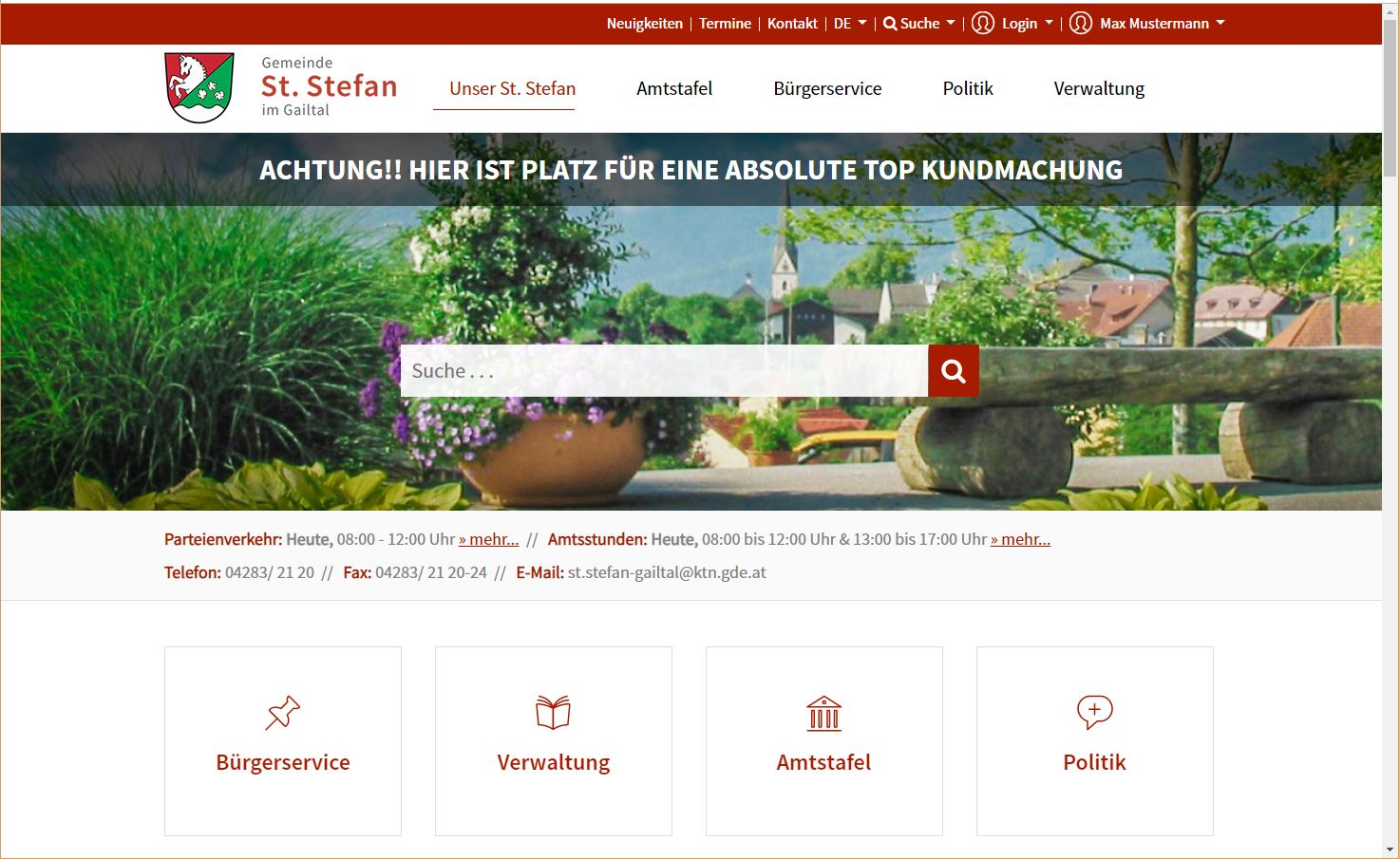 Geko Bürgerkommunikation - Beispiel Gemeindewebsite